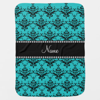 Personalized name turquoise damask receiving blankets