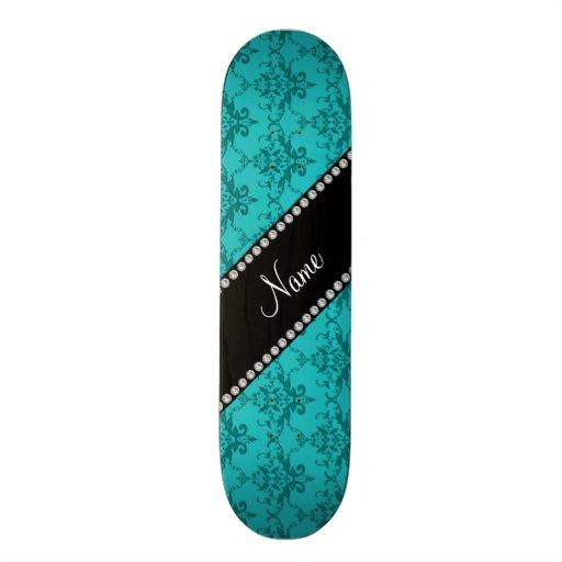 Personalized name Turquoise damask Skateboard