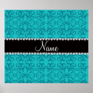 Personalized name turquoise damask swirls poster