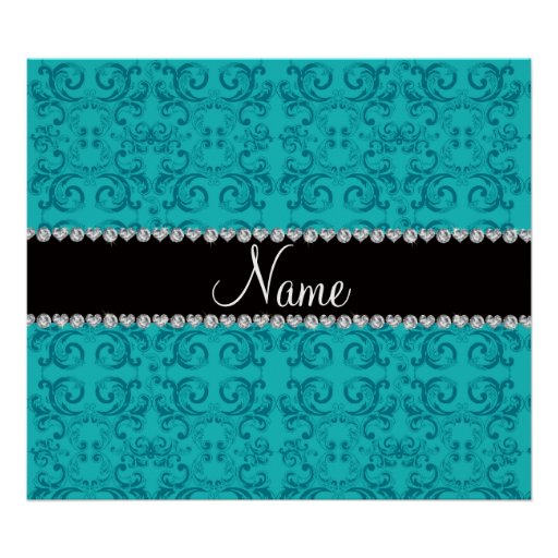Personalized name turquoise damask swirls posters