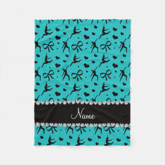Personalized name turquoise dancing hearts bows fleece blanket