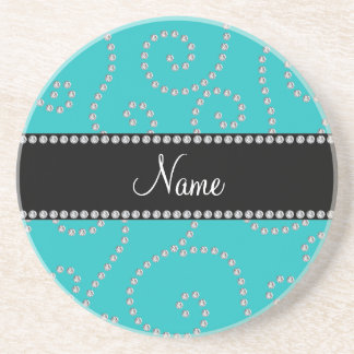 Personalized name turquoise diamond swirls sandstone coaster