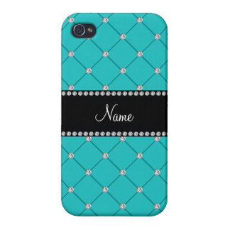 Personalized name Turquoise diamonds iPhone 4 Covers