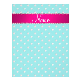 Personalized name turquoise diamonds pink stripe flyers