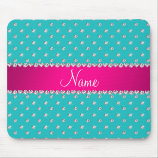 Personalized name turquoise diamonds pink stripe mousepad
