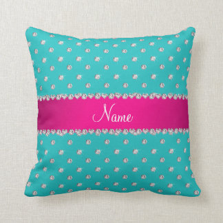 Personalized name turquoise diamonds pink stripe throw pillow