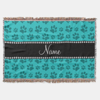Personalized name turquoise dog paw prints throw blanket