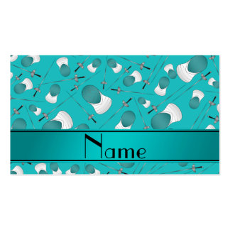Personalized name turquoise fencing pattern pack of standard business cards