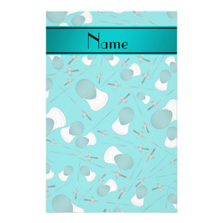 Personalized name turquoise fencing pattern stationery