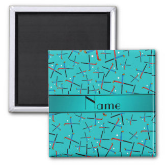 Personalized name turquoise field hockey magnet