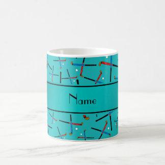 Personalized name turquoise field hockey classic white coffee mug