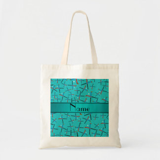 Personalized name turquoise field hockey tote bag