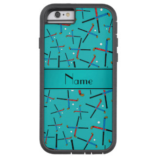 Personalized name turquoise field hockey tough xtreme iPhone 6 case