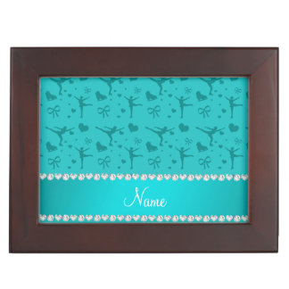 Personalized name turquoise figure skating memory boxes