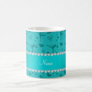 Personalized name turquoise figure skating coffee mug