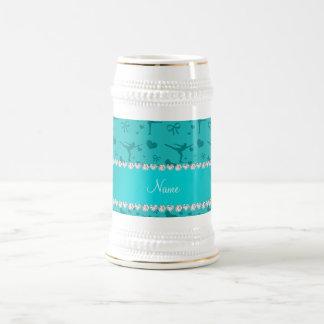 Personalized name turquoise figure skating mug