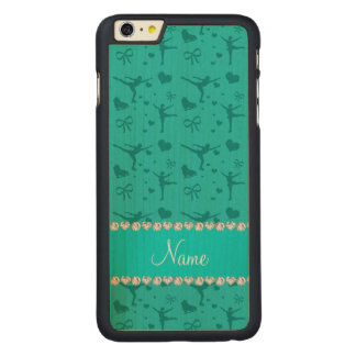 Personalized name turquoise figure skating carved® maple iPhone 6 plus slim case
