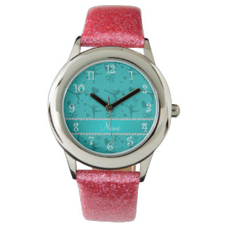 Personalized name turquoise figure skating wrist watch