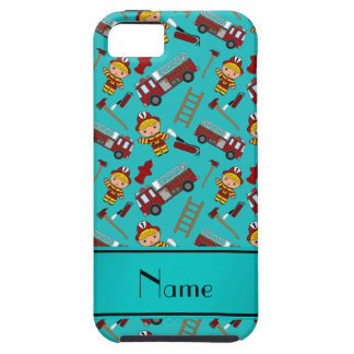 Personalized name turquoise firemen trucks ladders iPhone 5 case