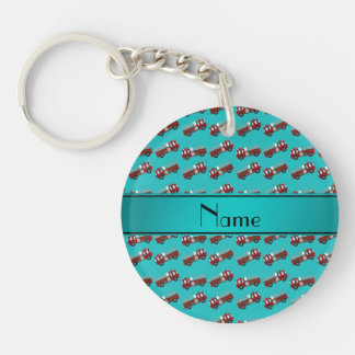 Personalized name turquoise firetrucks acrylic key chain