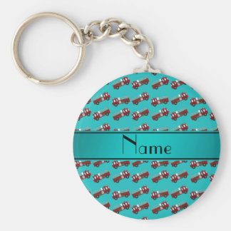 Personalized name turquoise firetrucks key chain