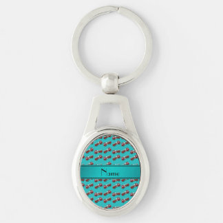 Personalized name turquoise firetrucks keychain