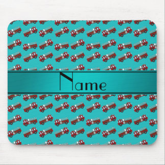 Personalized name turquoise firetrucks mouse pad
