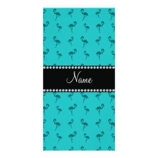 Personalized name turquoise flamingos photo greeting card