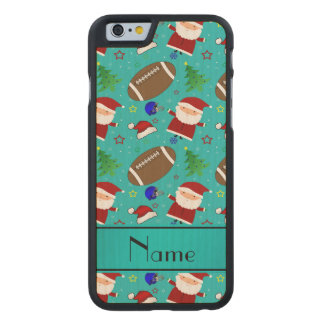 Personalized name turquoise football christmas carved® maple iPhone 6 case