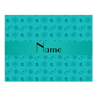 Personalized name turquoise geek pattern postcard