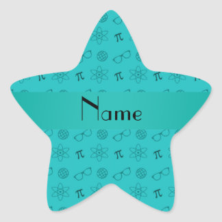 Personalized name turquoise geek pattern stickers