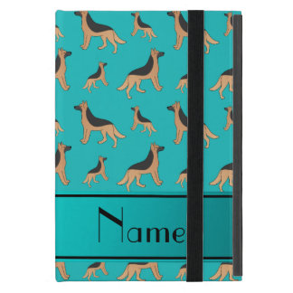 Personalized name turquoise German Shepherd dogs Cover For iPad Mini