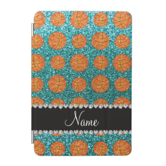 Personalized name turquoise glitter basketballs iPad mini cover
