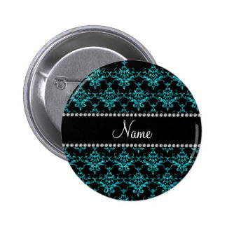 Personalized name turquoise glitter damask 6 cm round badge
