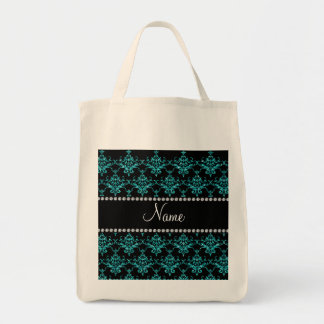 Personalized name turquoise glitter damask canvas bag