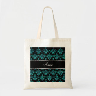 Personalized name turquoise glitter damask bags