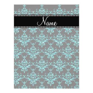 Personalized name turquoise glitter damask flyers