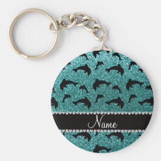 Personalized name turquoise glitter dolphins basic round button key ring