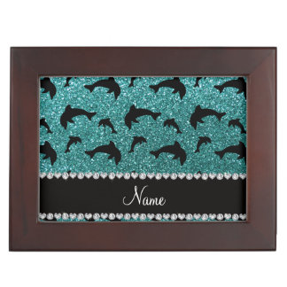 Personalized name turquoise glitter dolphins keepsake box