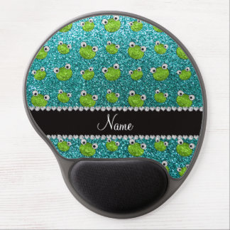 Personalized name turquoise glitter frogs gel mouse mat
