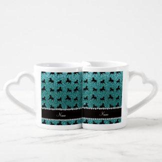Personalized name turquoise glitter horses lovers mug