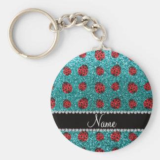 Personalized name turquoise glitter ladybug basic round button key ring