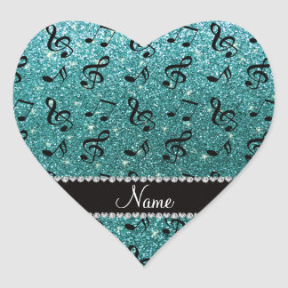 Personalized name turquoise glitter music notes heart sticker