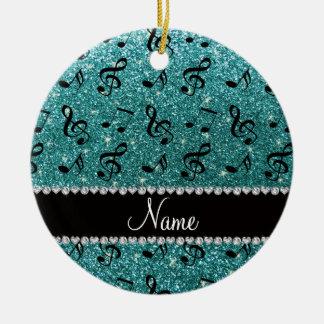 Personalized name turquoise glitter music notes round ceramic decoration