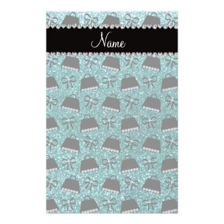 Personalized name turquoise glitter purses bow stationery paper