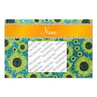 Personalized name turquoise glitter sunflowers art photo