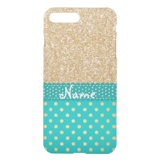 Personalized Name Turquoise Gold Glitter Polka Dot iPhone 8 Plus/7 Plus Case
