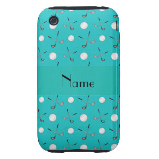 Personalized name turquoise golf balls iPhone 3 tough covers