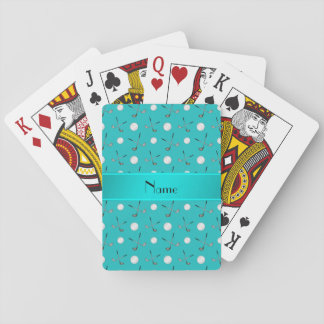 Personalized name turquoise golf balls playing cards