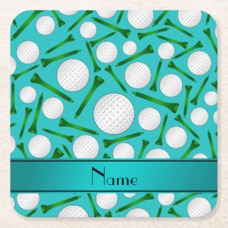 Personalized name turquoise golf balls tees square paper coaster